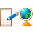 Cartoon pencil globe and paperback to school vector image