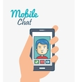 cartoon smartphone hand holding man mobile chat vector image