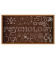 Chalk board doodle with symbols on psychology vector image