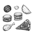 Collection of hand drawn ink fast food sketches vector image
