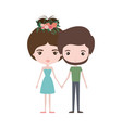 colorful caricature thin couple of bearded man and vector image vector image
