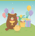 cute bear teddy in birthday party scene vector image