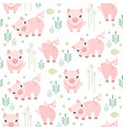 cute pig seamless pattern piggy kid fabric vector image vector image