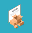 delivery packaging boxes isometric banner vector image vector image