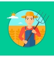 Farmer with pitchfork in wheat field vector image vector image