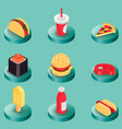 fast food color isometric icons vector image vector image