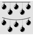 flat black isolated string of circles attached to vector image