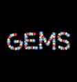 gems emblem text precious stones abc treasures of vector image vector image