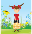 Girl with briefcase on the lawn vector image