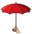 hand holding opened umbrella vector image vector image