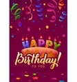 Happy Birthday Greeting Card Cake with candles vector image vector image