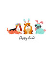 happy easter card with dogs wearing bunny vector image vector image