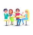 happy friends sitting in cafe eating french fries vector image vector image