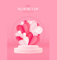 happy valentines day card with podium stage and vector image vector image