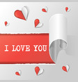hearts and text i love you on the light grey vector image vector image