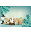 Holiday background with a 2016 made with a clock vector image vector image