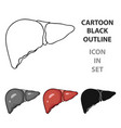 human liver icon in cartoon style isolated on vector image