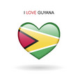 love guyana symbol flag heart glossy icon on a vector image