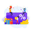 loyalty marketing program people receives a gift vector image vector image