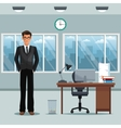 man workplace office desk chair clock windows vector image