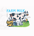 milk badge cow and woman farmer milkmaid vintage vector image vector image