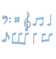 music signs blue notes and symbols on white vector image