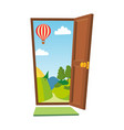 open door cartoon landscape front view vector image