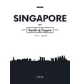 poster city skyline singapore flat style vector image vector image