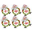 set discount label santa claus christmas wreath of vector image vector image