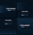 set of cyber monday sale banner with binary code vector image