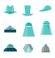 set of different hats flat style icons vector image vector image