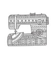 sewing machine in boho style vector image