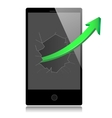 Smart phone with success growth green arrow vector image vector image