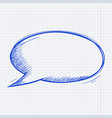 speech bubble blue hand drawn doodle on lined vector image