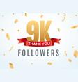 thank you 9000 followers design template social vector image vector image