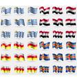 Uruguay Yemen North Ossetia Aland Set of 36 flags vector image vector image