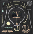 Vintage Hand Drawn Chalk Fathers Day Set vector image