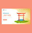 welcome to japan torii gate destination website vector image vector image
