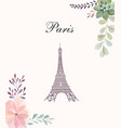 with eiffel tower and floral wreath vector image