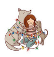 with girl and dogs and garlands vector image