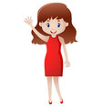 woman in red waving hand vector image