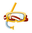 yellow diving mask and snorkel vector image