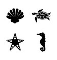 marine life simple related icons vector image