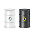 3d black and white barrel petroleum spilled icon vector image