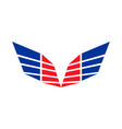 abstract sharp wings red blue colors symbol logo vector image vector image