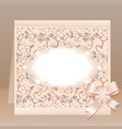 background card with a bow and delicate flower vector image