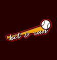 baseball sport typography sticker in retro style vector image
