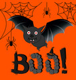bat on an orange background windy spiders vector image vector image