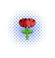 Bouquet of two flowers icon comics style vector image vector image