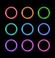 colorful neon light ring set circles background vector image
